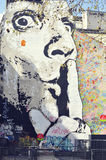 Graffiti on the wall in Paris near the Stravinsky Fountain Royalty Free Stock Image