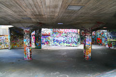 Graffiti wall perspective. This is the famous graffiti along the Themes river near the London eye Stock Image
