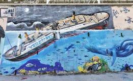 Graffiti wall in Piran, Slovenia Royalty Free Stock Images