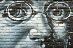 Graffiti on a wall with a portrait of Franz Schubert. Stock Image