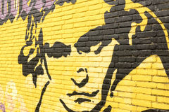Graffiti on a wall with a portrait of Ludwig van Beethoven. NETHERLANDS - LEIDEN - MEDIA JULY 2015: Graffiti on a wall with a portrait of Ludwig van Beethoven Royalty Free Stock Photos
