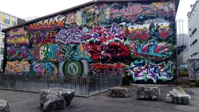 Graffiti wall X-Project Biel Bienne stock photo