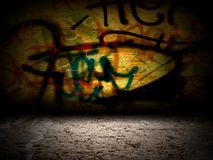 Graffiti Wall Room Interior Stage Background Texture Stock Images