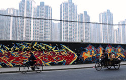 Graffiti Wall And Skyscrapers In Shanghai Stock Photography