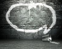 Graffiti wall with speech bubble, street background Royalty Free Stock Photos