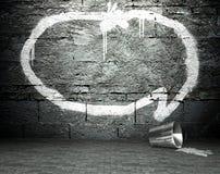 Graffiti wall with speech bubble, street background Royalty Free Stock Photos