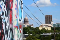 Graffiti wall with the Texas State Capitol in the Background stock photography