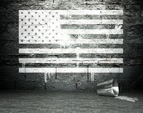 Graffiti wall with USA flag, street background Royalty Free Stock Images