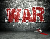 Graffiti wall with war, street background Stock Photo