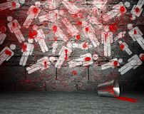 Graffiti wall with war symbol, street background Stock Photos