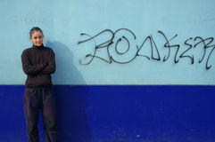 Graffiti Wall & Woman Royalty Free Stock Photography