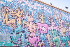Graffiti on the walls of houses in Los Angeles. Venice Beach, Los Angeles Youth Culture Center. Los Angeles, California, USA - June 11, 2017: public beach and royalty free stock photos