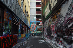 Graffiti walls at side street Melbourne Royalty Free Stock Photo