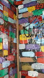 Graffiti Walls. Tagged and painted bathroom wall in Pittsburgh Royalty Free Stock Photos