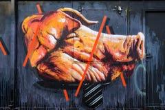 Graffiti wielka świni głowa Zdjęcia Stock