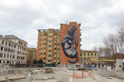 Graffiti wolf in Rome Stock Photography