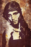 Graffiti woman on wall Stock Images