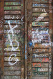 Graffiti wooden door Stock Image