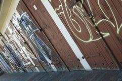 Graffiti on wooden doors Stock Photography