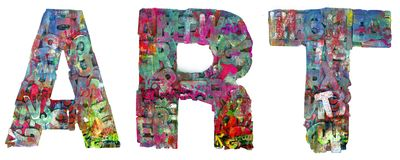 Graffiti word ART isolated. The word Art made from lots of small wooden letters isolated on white stock photos