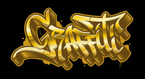 Graffiti word in golden graffiti style. Gold vector text Stock Images
