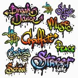 Graffiti word set. Expressive collection of graffiti urban youth art individual words digital spray paint creator grunge isolated vector illustration Royalty Free Stock Photos