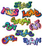 Graffiti words set. With street kiss love art fun style cool urban isolated vector illustration Royalty Free Stock Photos