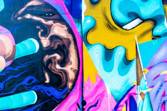 Graffiti World. Graffiti art Pieces Lines and Colors Royalty Free Stock Photo