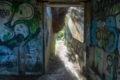 Graffiti On World War Two Abandoned Bunker royalty free stock photography