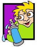 Graffiti writer 02. Urban hip hop sprayer kid with spray can Royalty Free Stock Image
