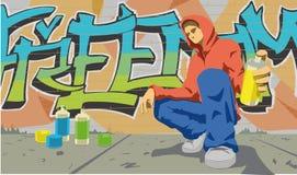 Graffiti writer. This is a  illustration of graffiti writer Royalty Free Stock Image