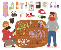 Graffiti yarnbombing artist man character and grunge spray paint artistic street art symbols vector illustration Stock Photo