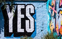The graffiti of YES in London Royalty Free Stock Image