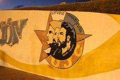 Graffiti z twarzą Fidel Castro na ulicie Hawański, Kuba Zdjęcie Stock