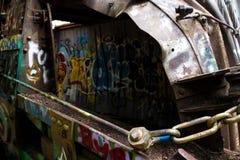 Graffiti-Zug richten im Pfeifer an lizenzfreies stockfoto