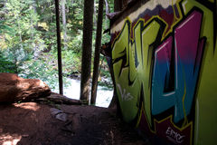 Graffiti-Zug richten im Pfeifer an lizenzfreies stockbild