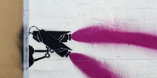 Graffiti: zwei Kameras Stockbild