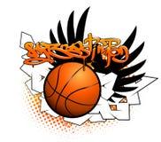Graffitibeeld van het basketbal Stock Foto's
