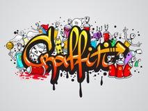 Graffiticharakterzusammensetzungsdruck Stockfotografie