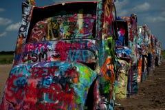 Graffitied Cadillacs Fotos de Stock