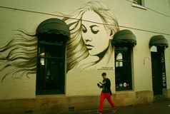 A graffitied house-The portrait of a beautiful woman on the wall stock photos