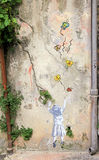 Graffities on the vintage wall in Old Town of Nice, France. Stock Photo