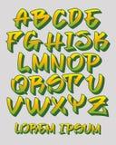 Graffitiguß 3D - die Hand geschrieben - Vector Alphabet Stockbilder