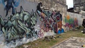 Graffitikunst in batu pahat lizenzfreie stockbilder