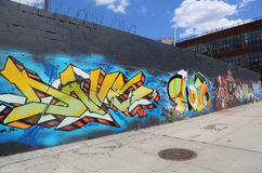 Graffitikunst in Ost-Williamsburg in Brooklyn Lizenzfreie Stockfotos