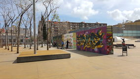 Graffitimuren in Barcelona Royalty-vrije Stock Afbeelding