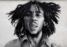 Graffitiportret van Bob Marley Royalty-vrije Stock Foto's