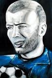 Graffitiportret van Zinedine Zidane Stock Afbeelding