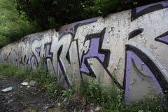 Graffitis auf einer abandonned Wand Lizenzfreie Stockfotos