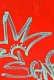 Graffitis on a red background Stock Image